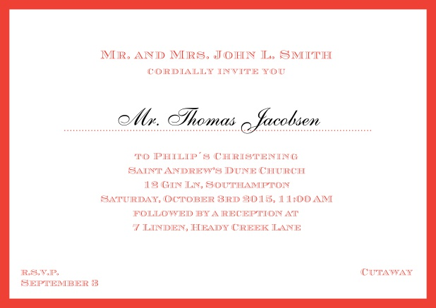 Online Traditional invitation card with a outer frame to a Christening in many color variations including a line for the gues's name. Red.