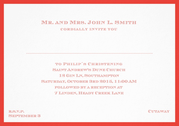 Traditional invitation card with a outer frame to a Christening in many color variations including a line for the gues's name. Red.