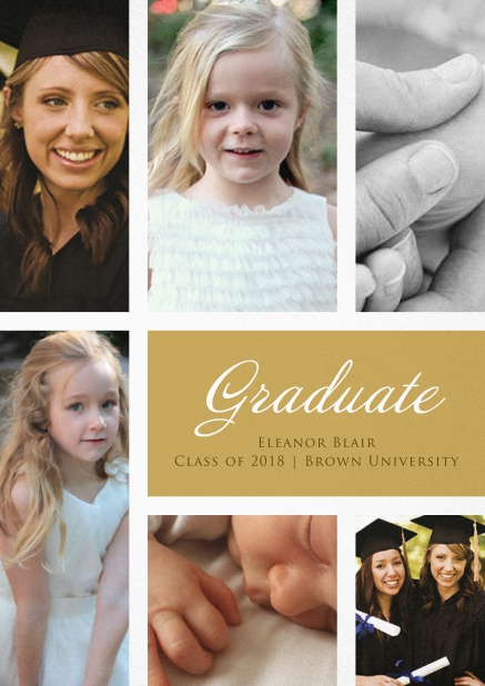 Add 6 photos to this lovely graduation invitation card Beige.
