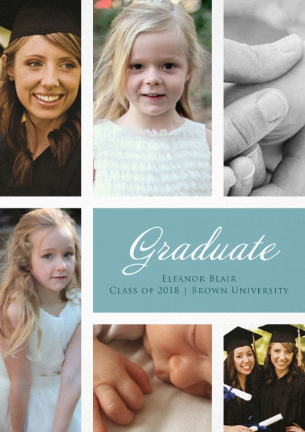 Add 6 photos to this lovely graduation invitation card Blue.