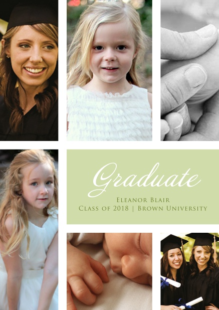 Add 6 photos to this lovely graduation invitation card Green.