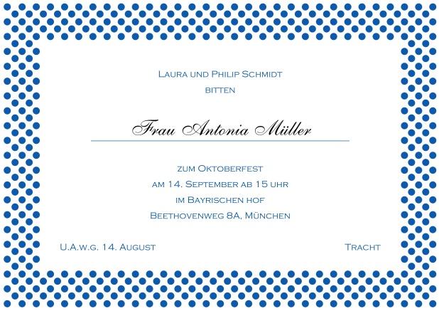 Klassische Einladungskarten. Online Einladungskarte Mit Gepunktetem Rahmen  In Verschiedenen Farben Und Editierbarem Text. Blau.