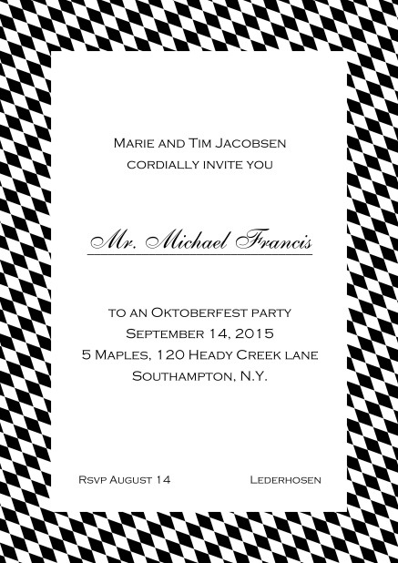 Classic online invitation card with classic bavarian frame and editable text. Black.