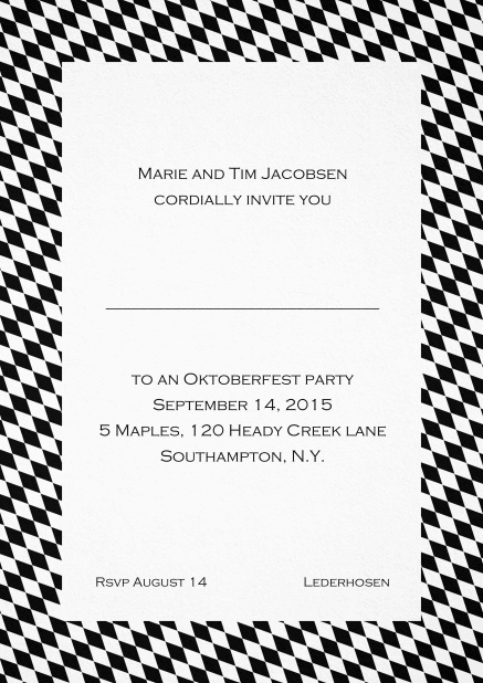 Classic invitation card with classic bavarian frame and editable text. Black.