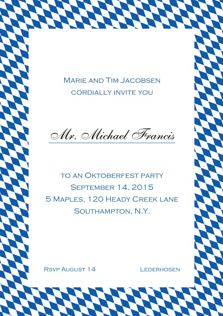 Classic online invitation card with classic bavarian frame and editable text. Blue.