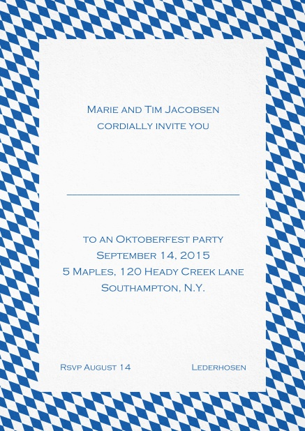 Classic invitation card with classic bavarian frame and editable text. Blue.