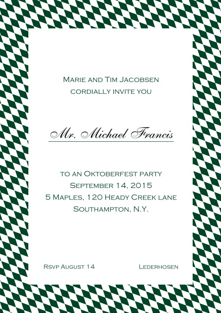 Classic online invitation card with classic bavarian frame and editable text. Green.