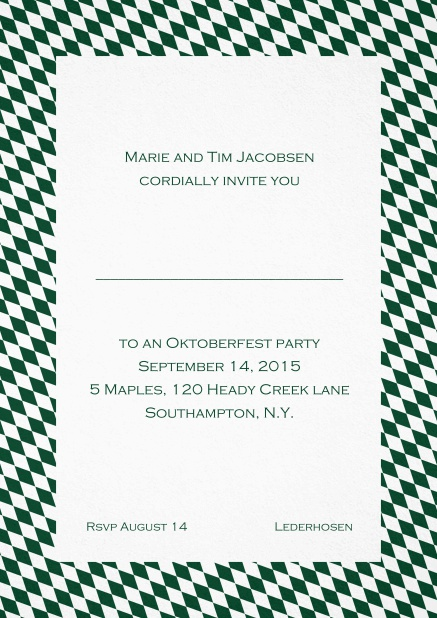 Classic invitation card with classic bavarian frame and editable text. Green.
