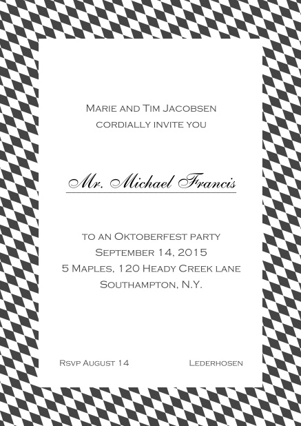 Classic online invitation card with classic bavarian frame and editable text. Grey.