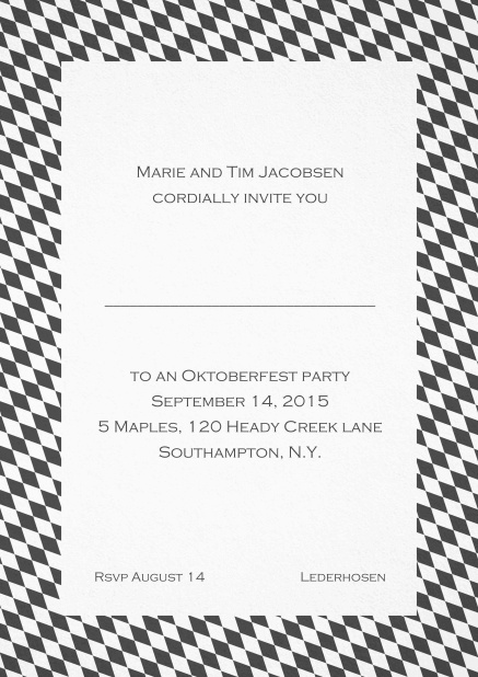 Classic invitation card with classic bavarian frame and editable text. Grey.