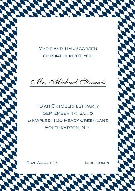 Classic online invitation card with classic bavarian frame and editable text. Navy.