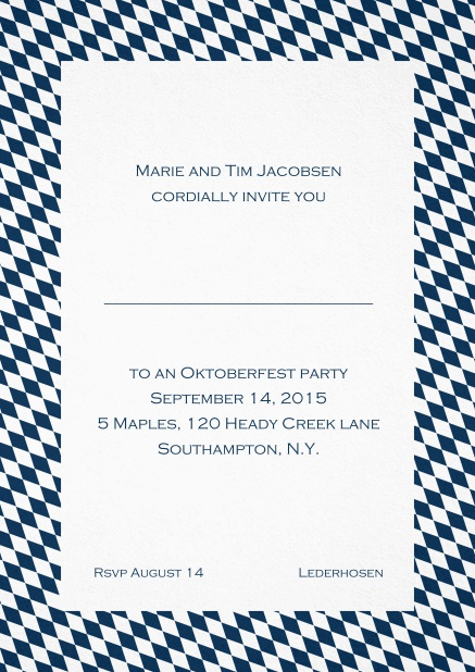 Classic invitation card with classic bavarian frame and editable text. Navy.