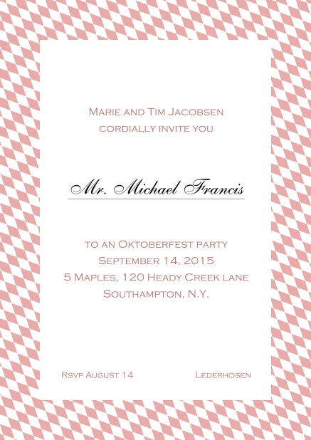 Classic online invitation card with classic bavarian frame and editable text. Pink.