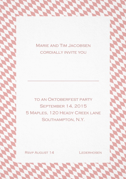 Classic invitation card with classic bavarian frame and editable text. Pink.