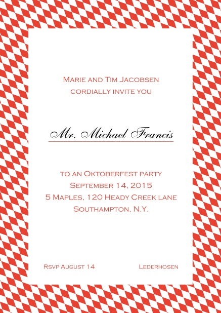 Classic online invitation card with classic bavarian frame and editable text. Red.