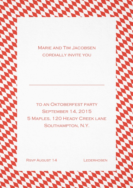 Classic invitation card with classic bavarian frame and editable text. Red.