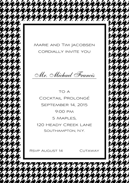Classic Oktoberfest online invitation card with frame in different colors and line for guest's name. Black.
