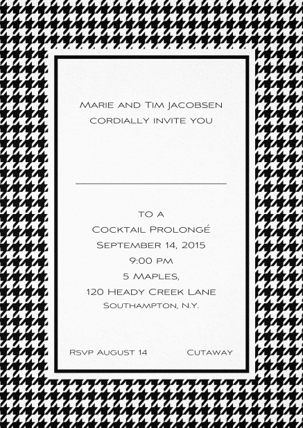 Classic Oktoberfest invitation card with frame in different colors and line for guest's name. Black.