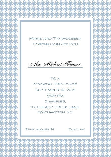 Classic Oktoberfest online invitation card with frame in different colors and line for guest's name. Blue.