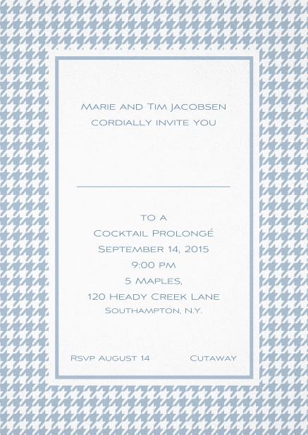 Classic Oktoberfest invitation card with frame in different colors and line for guest's name. Blue.