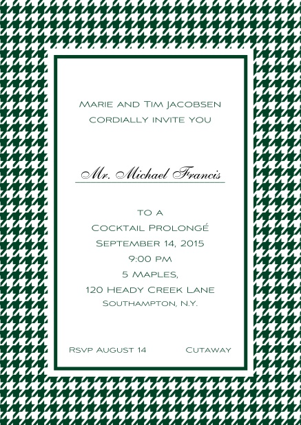 Classic Oktoberfest online invitation card with frame in different colors and line for guest's name. Green.