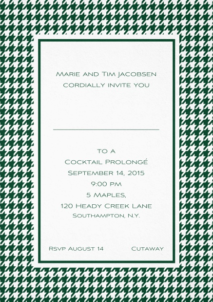 Classic Oktoberfest invitation card with frame in different colors and line for guest's name. Green.