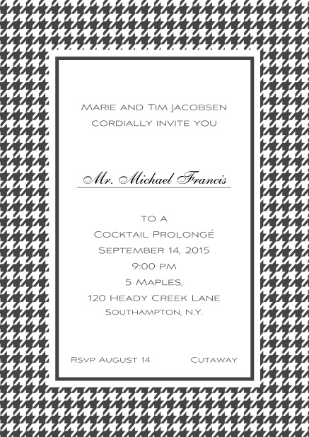Classic Oktoberfest online invitation card with frame in different colors and line for guest's name. Grey.