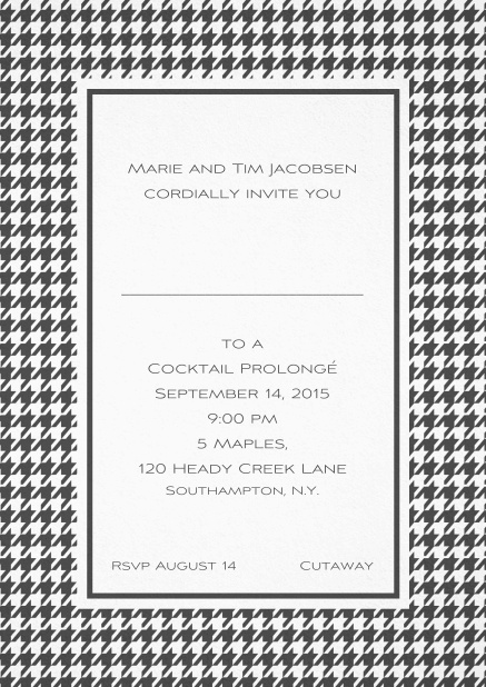 Classic Oktoberfest invitation card with frame in different colors and line for guest's name. Grey.