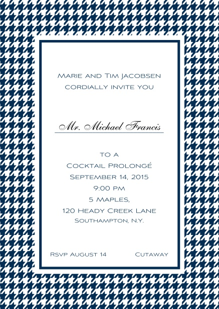 Classic Oktoberfest online invitation card with frame in different colors and line for guest's name. Navy.