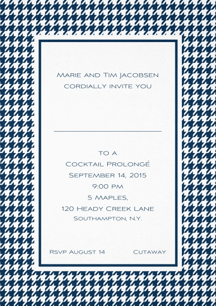 Classic Oktoberfest invitation card with frame in different colors and line for guest's name. Navy.