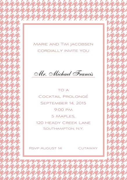 Classic Oktoberfest online invitation card with frame in different colors and line for guest's name. Pink.