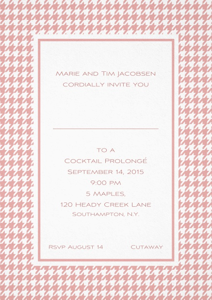 Classic Oktoberfest invitation card with frame in different colors and line for guest's name. Pink.