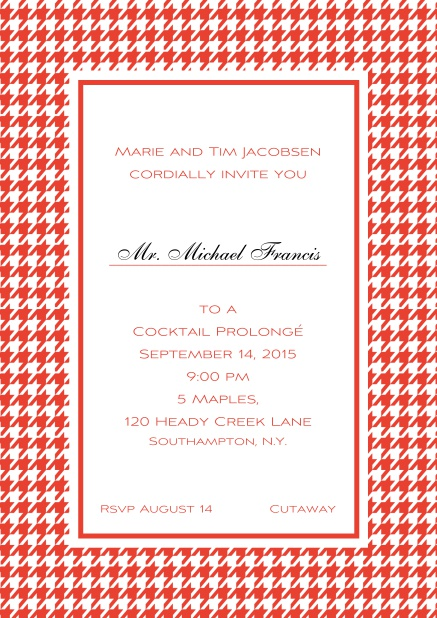 Classic Oktoberfest online invitation card with frame in different colors and line for guest's name. Red.