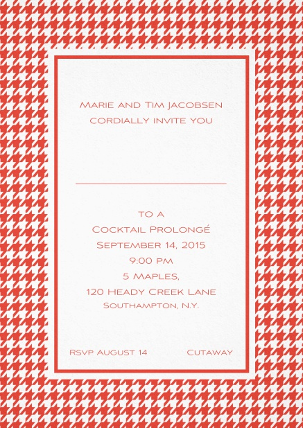 Classic Oktoberfest invitation card with frame in different colors and line for guest's name. Red.