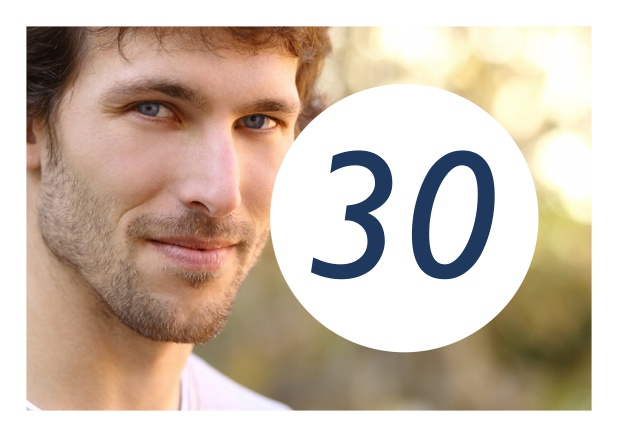 Online Birthday Card For A 30th Celebration Including Photo And Round Editable Textfield Navy