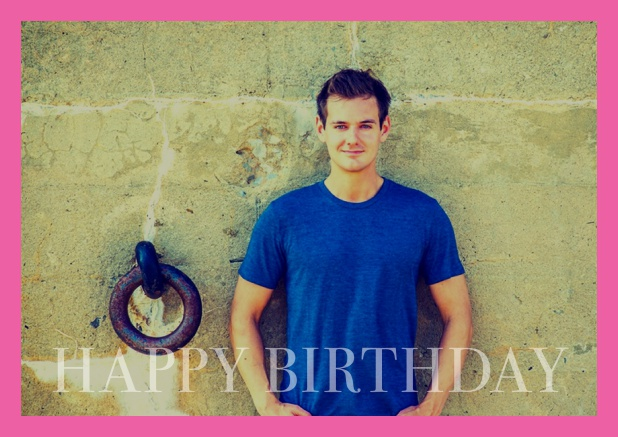 Online card with photo and Happy Birthday text and Birthday wishes text on 2nd page. Pink.