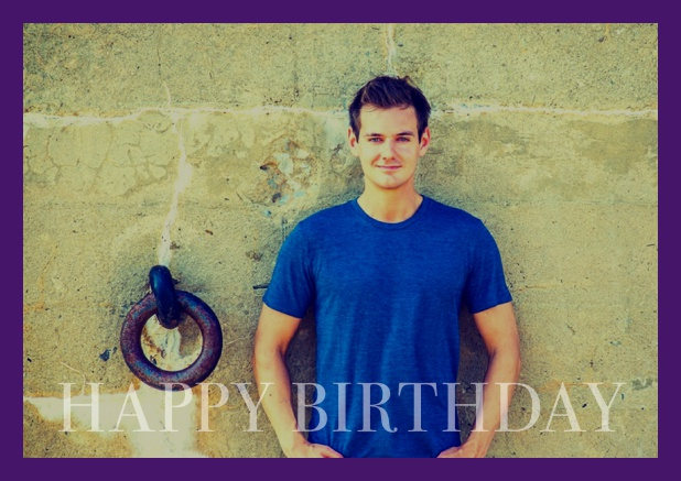 Online card with photo and Happy Birthday text and Birthday wishes text on 2nd page. Purple.