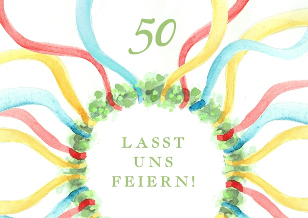 Online Invitation Card For 50th Birthday With Classic May Colors
