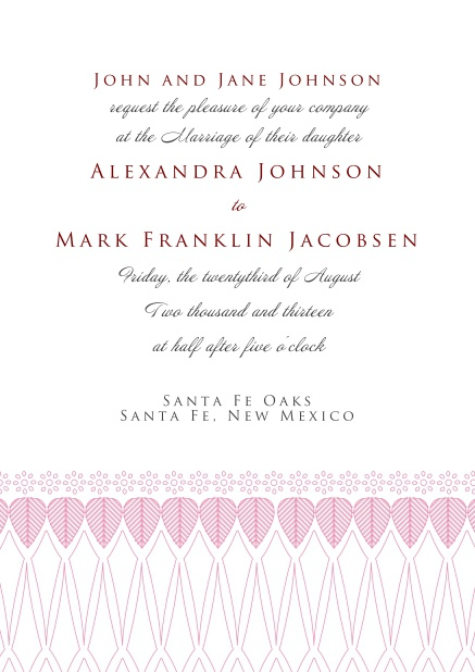 Online Formal Invitation card for weddings and precious birthday invitations with red deco at the bottom.