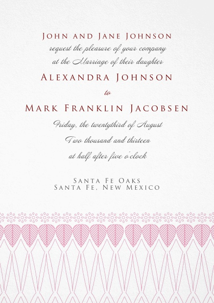 Formal Invitation card for weddings and precious birthday invitations with red deco at the bottom.