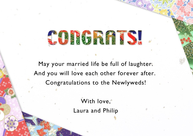 Online congratulations card with flower deco in the corners.