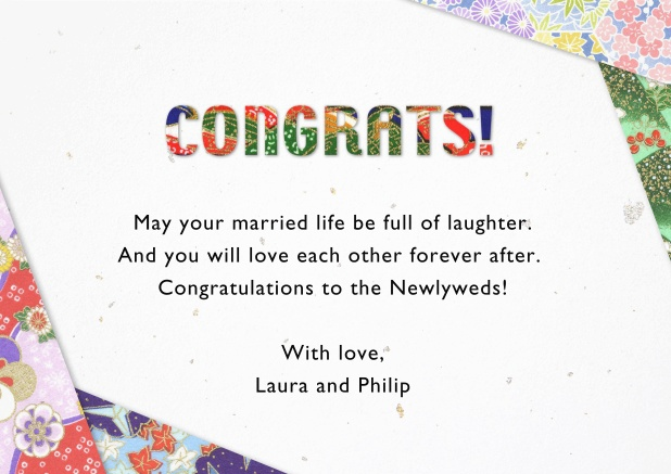 Paper congratulations card with flower deco in the corners.