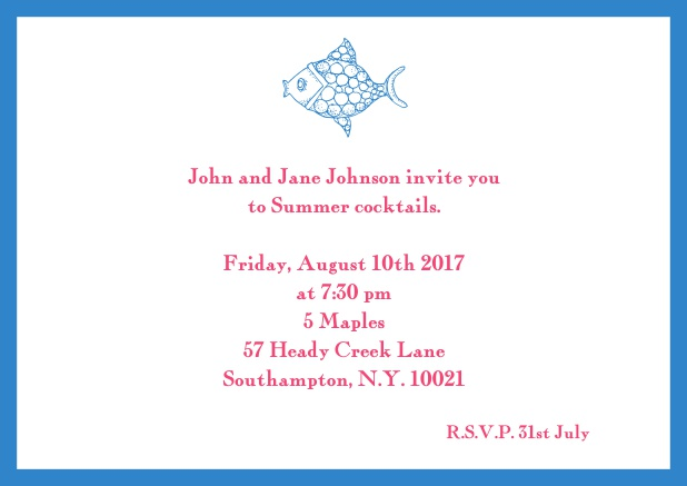 Online Summer invitation card with fish and matching colorful frame. Blue.