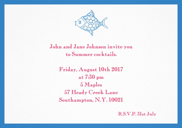 Summer invitation card with fish and matching colorful frame. Blue.