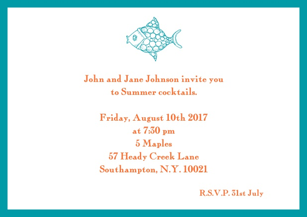 Online Summer invitation card with fish and matching colorful frame. Green.