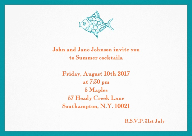 Summer invitation card with fish and matching colorful frame. Green.