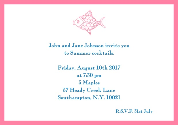 Online Summer invitation card with fish and matching colorful frame. Pink.