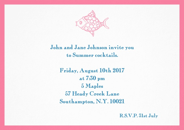 Summer invitation card with fish and matching colorful frame. Pink.
