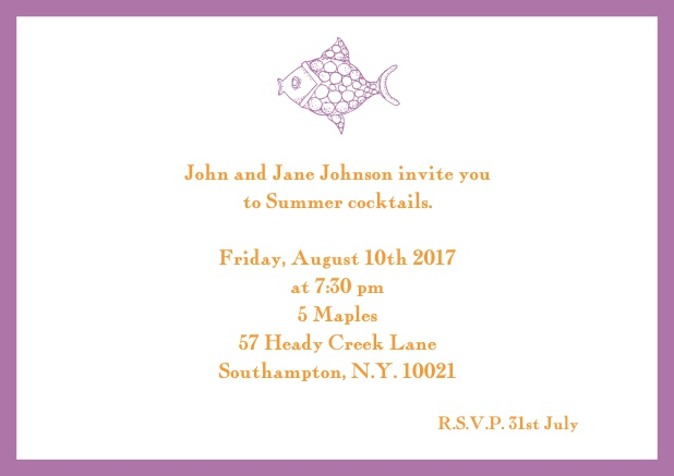 Online Summer invitation card with fish and matching colorful frame. Purple.