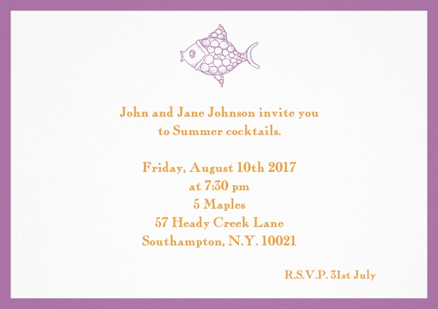 Summer invitation card with fish and matching colorful frame. Purple.